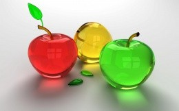 3D glass apples, widescreen wallpaper