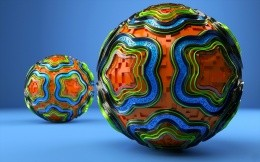 Embossed colored balls made in 3D graphics