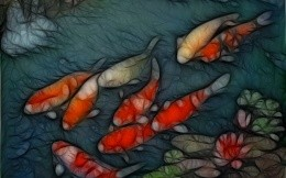 Abstract image of a fish, salmon in the river.
