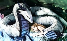 Anime girl and dragon entwined around it