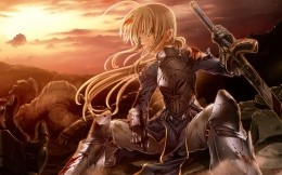 Anime girl in armor with sword