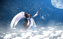 Anime So Close, a girl with wings in the night sky and the moon wallpaper.