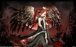 Anime wallpapers - Sumi Keiichi - a little girl with a bloody two-handed sword.