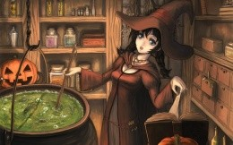 Anime witch hat magical potion brews