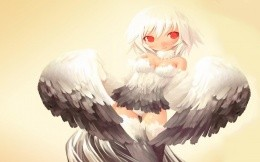 Ga like - anime girl with wings and red eyes, wallpaper.