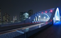 City bridge with illumination