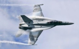 American military aircraft Jet Fighter F18 Hornet in the air