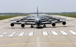 American transport planes on the runway