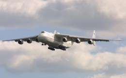 Cargo plane Antonov (AN 225) coming in to land