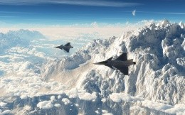 Military fighters in the mountains