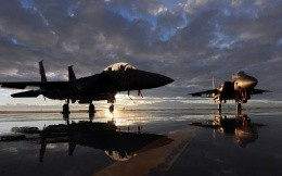 Two U.S. military aircraft Jet Eagle F15 at dawn 1920x1080.