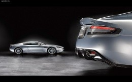 Aston Martin DBS car near and far.