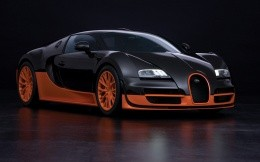 Black and orange car Bugatti