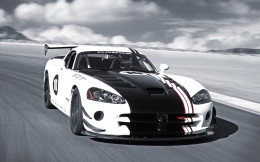 Black-and-white car Dodge Viper, photo wallpaper