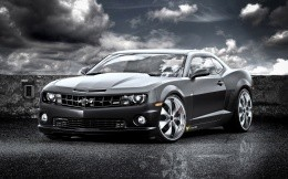 Black-and-white photo of American Chevrolet Camaro.