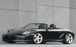 Black Porsche sports car with an open top, the background for your desktop.