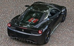 Black sports car Ferrari, top view