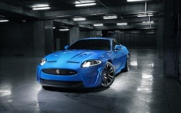 Blue Jaguar car