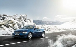 Bmw Cabrio blue car on a mountain road, photo wallpaper