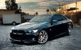 BMW M3 E46, photo black car, front view.