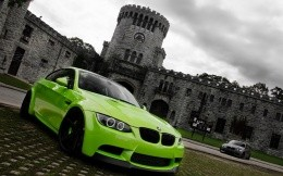 Bright green cars BMW M3