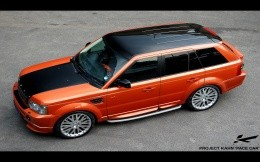 Charged car Range Rover Sport, top view photo