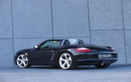 Luxury black car Porshe open top - wallpaper.