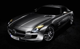 Mercedes SLS AMG, silver metallic, photo wallpaper