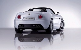 Photo Car Alfa Romeo 8c Spider Convertible white, rear view
