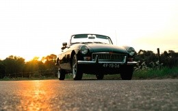 Photos of classic Old Mobil MG B-Classic.