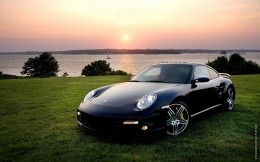 Porshe cars on the lake, on the green grass wallpaper car, cars
