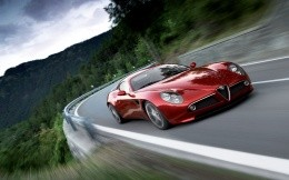 Red Alfa Romeo on the road