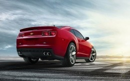 Red Chevrolet Camaro ZL1 rear view, high-resolution photos 2560x1440.