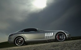 Stylish sports car of gray color.