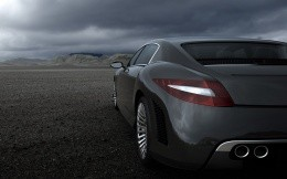 The car, a stylish gray Audi car against a stormy sky, wallpaper, rear view