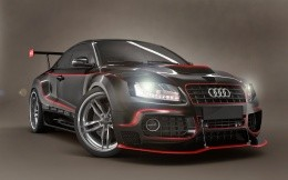 Tuned coupe from Audi black with red stripes