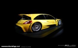 Tuning yellow car - for a desktop on a black background
