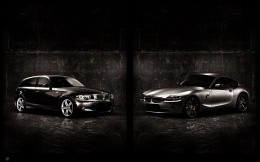 Two cars BMW, wallpaper big and small cars