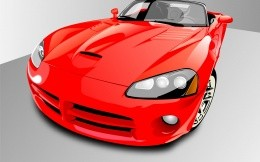 Vector drawing a red sports car