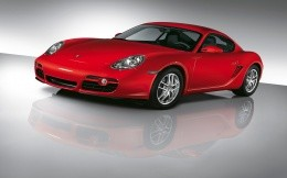 Wallpaper with the car Porshe Cayman red.