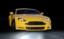 Yellow Aston Martin