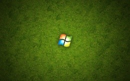 Windows logo on a background of green grass