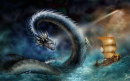 A sea monster-serpent and the ship