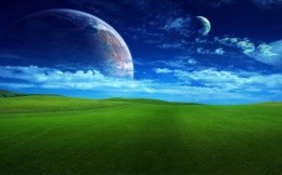 Another world - a very beautiful wallpaper for your desktop, grass, sky, other worlds, fantasy, fantasy