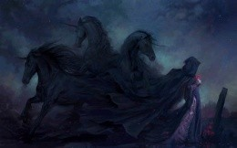 Art wallpaper with a dark figure in a raincoat and horses