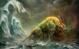 Chimera coming out of the sea