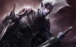 dark elf with swords