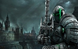 Fantasy, a robot with a sword in the middle of London destroyed, post-apocalyptic wallpaper