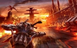 Fantasy art with a biker on a motorcycle in the steel armor and weapons