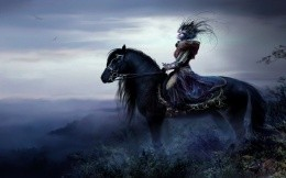 Fantasy girl on a horse